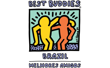 BEST BUDDIES logo with a light green square background, consists of two stylised silhouettes hugging each other, being yellow the one to the left and orange the onde to the right, both seating side by side on a lilac bench with black dots on it. Above their heads, several black dashes. On top of it all outside the frame BEST BUDDIES is written with capital grey letters and right below BRAZIL – MELHORES AMIGOS is written in two lines with capitol letters in the same color.