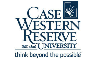 Case Western University logo, picturing on its right side a small blue rectangle, framed by a white thin line only open on its upper right end. On its bottom left corner there is a curved line shaping the terrestrial globe, with a radiant sun coming from behind: a white circle with pointy dashes representing the sunbeams. On the left side of the symbol, CASE WESTERN RESERVE; EST. 1826 – UNIVERSITY; think beyond the possible, is written in blue letters.