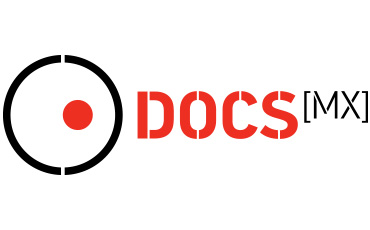 DOCsMx logo, picturing on the left side a black circle slightly open at the bottom and the top, with a small red sphere inside positioned in a way on the right side so it seems like the shape of an eye with a pupil, looking in that direction. To the right,  DOCS[MX] is written with big capitol letters, being DOCS in red and MX in black between brackets.