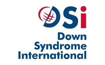 Down Syndrome International logo, with DSI written along the upper edge. The uppercase letters D and S are blue, and the lowercase letter I is red. The letter D is slightly rotated to the right and combines with a red semicircle to form a globe. On the bottom, in three lines: Down Syndrome International is written in blue.