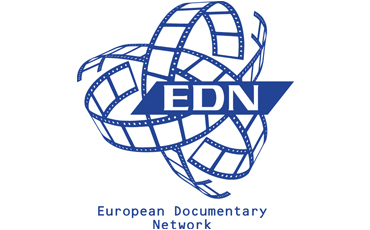 European Documentary Network logo, consisting of three intertwined blue film strips. In the middle to the right, over the strips, is a blue bar with EDN written in white capital letters. On the bottom, the full name of the organization, European Documentary Network, is written in blue.
