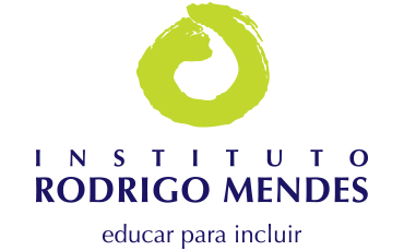 Rodrigo Mendes Institute logo, consisting of a green circle painted with a thick brush whose outline creates a white comma in the center that is round on the bottom and narrow on top. Underneath this shape, INSTITUTO RODRIGO MENDES is written in capital letters, and the phrase educate to include is written in lowercase letters along the bottom edge of the logo.