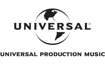 UNIVERSAL PRODUCTION COMPANY logo, consisting of a black outline of the globe with North America and South America showing. In the center, UNIVERSAL, written in black capital letters, is superimposed over the globe and divides the American continent, with North America above and South America below. Below the globe, UNIVERSAL PRODUCTION MUSIC is written in black capital letters.