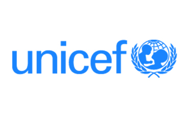 UNICEF logo in blue cyan; description: UNICEF- for every child.